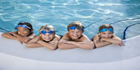 Four Children in a swimming pool